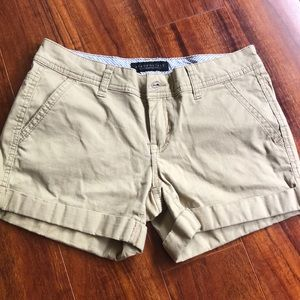 Tan kaki midi shorts